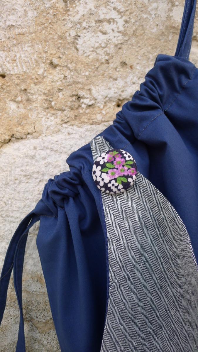 τσάντα πλάτης με διακοσμητικό κουμπί