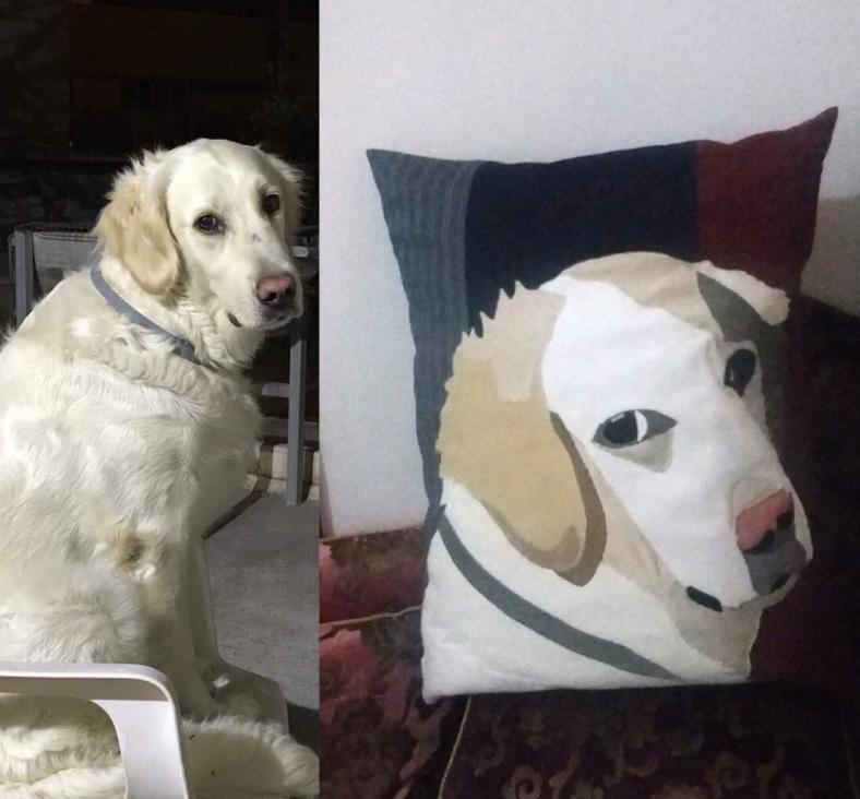 διακοσμητικό μαξιλάρι με παράσταση σκύλου