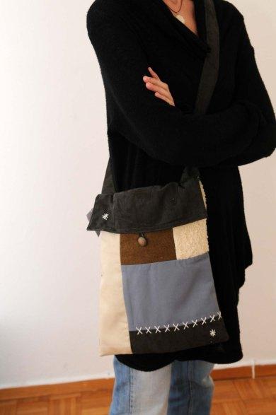 τσάντα ταχυδρόμου patchwork με καπάκι